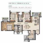 Sobha City Gurgaon Floor Plan 1710 Sqft. 3 BHK + 3T