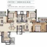 Sobha City Gurgaon Floor Plan 2002 Sqft. 3 BHK + 3T
