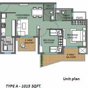 ILD GSR Drive Floor Plan 1015 Sqft. 2 BHK