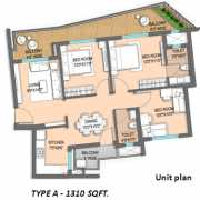 ILD GSR Drive Floor Plan 1310 Sqft. 3 BHK
