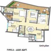 ILD GSR Drive Floor Plan 1335 Sqft. 3 BHK