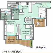 ILD GSR Drive Floor Plan 985 Sqft. 2 BHK