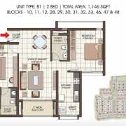 Prestige Kew Gardens Floor Plan 1146 Sqft. 2 BHK