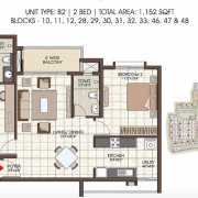 Prestige Kew Gardens Floor Plan 1152 Sqft. 2 BHK