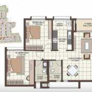 Prestige Kew Gardens Floor Plan 1166 Sqft. 2 BHK