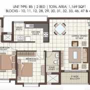 Prestige Kew Gardens Floor Plan 1169 Sqft. 2 BHK