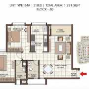 Prestige Kew Gardens Floor Plan 1221 Sqft. 2 BHK