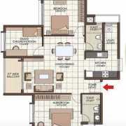 Prestige Kew Gardens Floor Plan 1351 Sqft. 2 BHK + Study