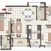 Prestige Kew Gardens Floor Plan 1352 Sqft. 2 BHK + Study