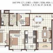 Prestige Kew Gardens Floor Plan 1355 Sqft. 2 BHK + Study
