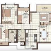 Prestige Kew Gardens Floor Plan 1357 Sqft. 2 BHK + Study