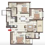 Prestige Kew Gardens Floor Plan 1595 Sqft. 3 BHK