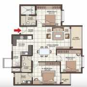 Prestige Kew Gardens Floor Plan 1605 Sqft. 3 BHK