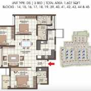 Prestige Kew Gardens Floor Plan 1607 Sqft. 3 BHK