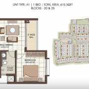 Prestige Kew Gardens Floor Plan 615 Sqft. 1 BHK