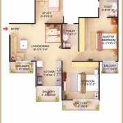 Dwarkadhish Casa Romana Floor Plan 1225 Sqft. 2BHK + 2T