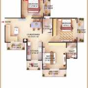 Dwarkadhish Casa Romana Floor Plan 1350 Sqft. 3BHK + 2T