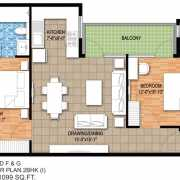 Raheja Maheshwara Floor Plan 1099 Sqft. 2 BHK