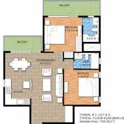 Raheja Maheshwara Floor Plan 1199 Sqft. 2 BHK