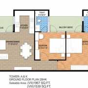 Raheja Maheshwara Floor Plan 1539 Sqft. 2 BHK