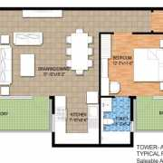 Raheja Maheshwara Floor Plan 1630 Sqft. 3 BHK