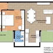 Raheja Maheshwara Floor Plan 1706 Sqft. 3 BHK