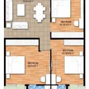 Raheja Maheshwara Floor Plan 2044 Sqft. 3 BHK
