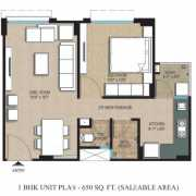 Adani Shantigram Aangan Floor Plan 650 Sqft. 1 BHK (1st To 3rd Floor)