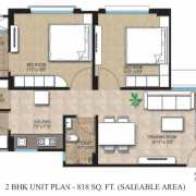 Adani Shantigram Aangan Floor Plan 818 Sqft. 2 BHK