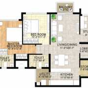 Adani Shantigram The Meadows Floor Plan 1350 Sqft. 2.5 BHK