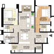 Adani Shantigram The Meadows Floor Plan 1370 Sqft. 2.5 BHK