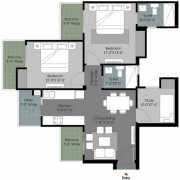 Gulshan Botnia Floor Plan 1160 Sqft. 2 BHK+2T+Study