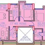 Primarc Shrachi Aangan Floor Plan 941 Sqft. 2 BHK