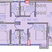 Primarc Shrachi Aangan Floor Plan 1268 Sqft. 3 BHK