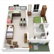 Mahindra Happinest Avadi Floor Plan 345.63 Sqft. 1 BHK - Regular