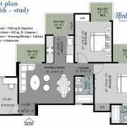 Arihant Ambar Floor Plan 1160 Sqft. 2 BHK+ST