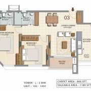 Ozone Urbana Heights Floor Plan 1189 Sqft. 2 BHK