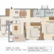 Ozone Urbana Heights Floor Plan 1195 Sqft. 2 BHK