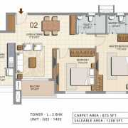 Ozone Urbana Heights Floor Plan 1208 Sqft. 2 BHK