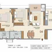 Ozone Urbana Heights Floor Plan 1220 Sqft. 2 BHK