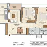Ozone Urbana Heights Floor Plan 1234 Sqft. 2 BHK