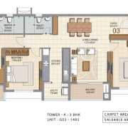 Ozone Urbana Heights Floor Plan 1756 Sqft. 3 BHK