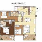 G Corp Residences Floor Plan 2046 Sqft. 3 BHK