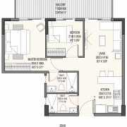 Godrej The Suites Floor Plan 90.58 Sqft. 2 BHK