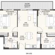 Godrej The Suites Floor Plan 134.71 Sqft. 2 BHK+ Study