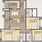 MJR Clique Hercules Floor Plan 1570 Sqft. 3 BHK (Regular)
