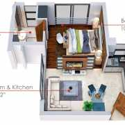 World Trade Center Quad Floor Plan 570 Sqft. 1 BHK