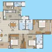 Purva Northern Waves Floor Plan 1836 Sqft. 3 BHK