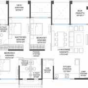 Godrej 24 Floor Plan 1133 Sqft. 3BHK