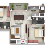 PBEL City Chennai Floor Plan 1274 Sqft. 2 BHK